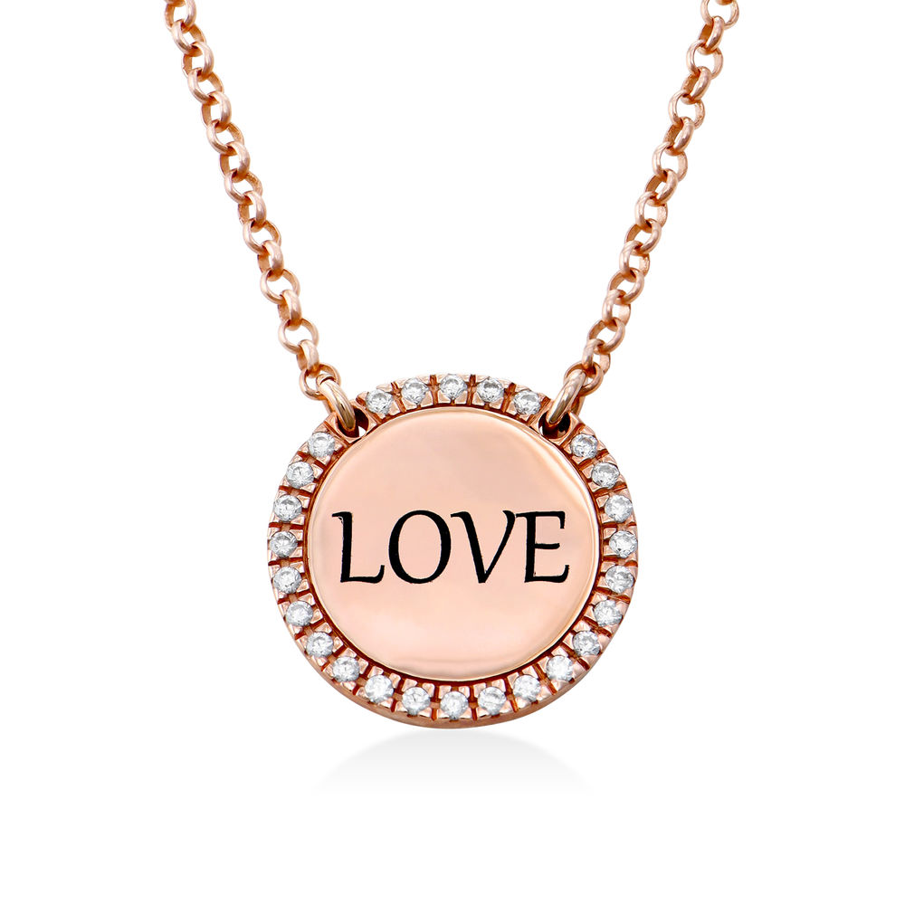 Personalized Round Cubic Zirconia Necklace in Rose gold Plating - 1