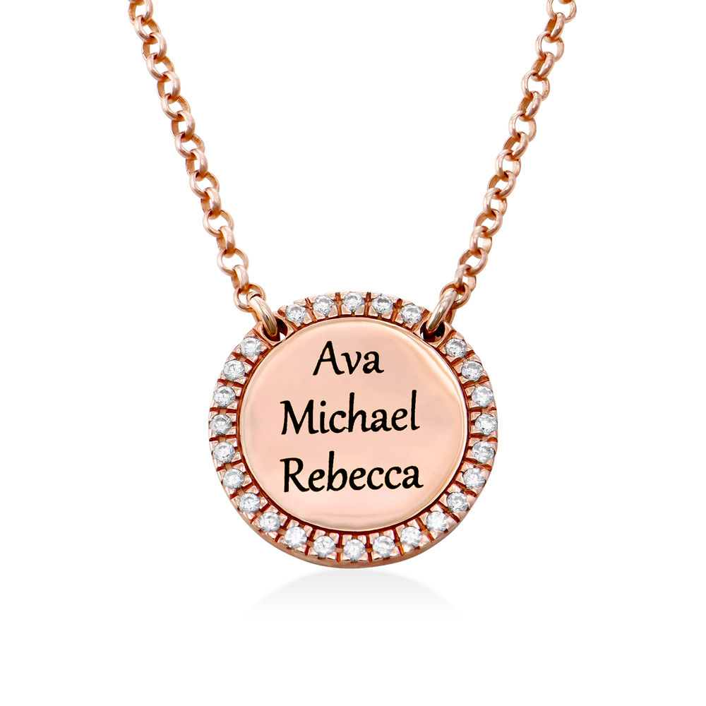 Personalized Round Cubic Zirconia Necklace in Rose gold Plating - 2