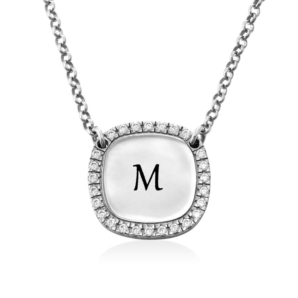 Personalized Square Cubic Zirconia Necklace in Silver - 1
