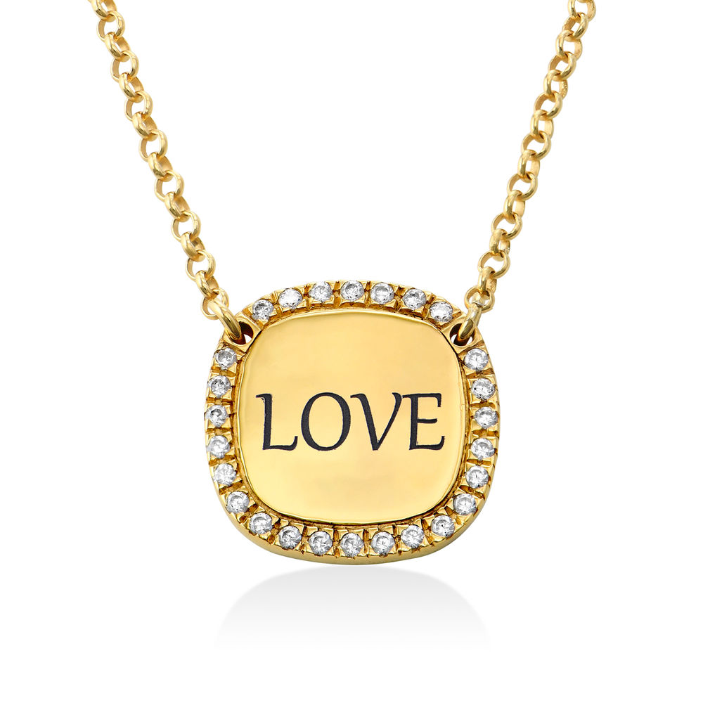 Personalized Square Cubic Zirconia Necklace in Gold Plating - 1