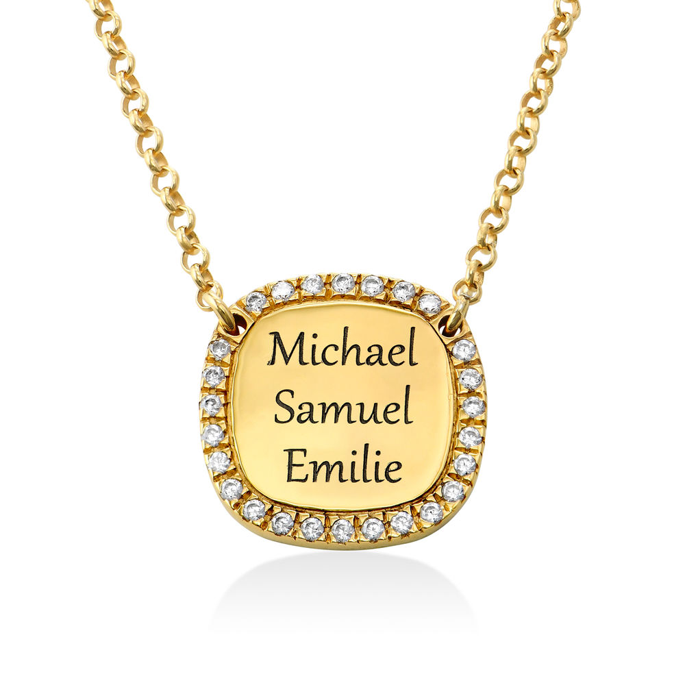 Personalized Square Cubic Zirconia Necklace in Gold Plating - 2