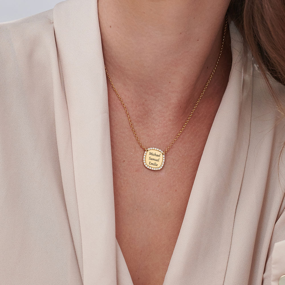 Personalized Square Cubic Zirconia Necklace in Gold Plating - 4