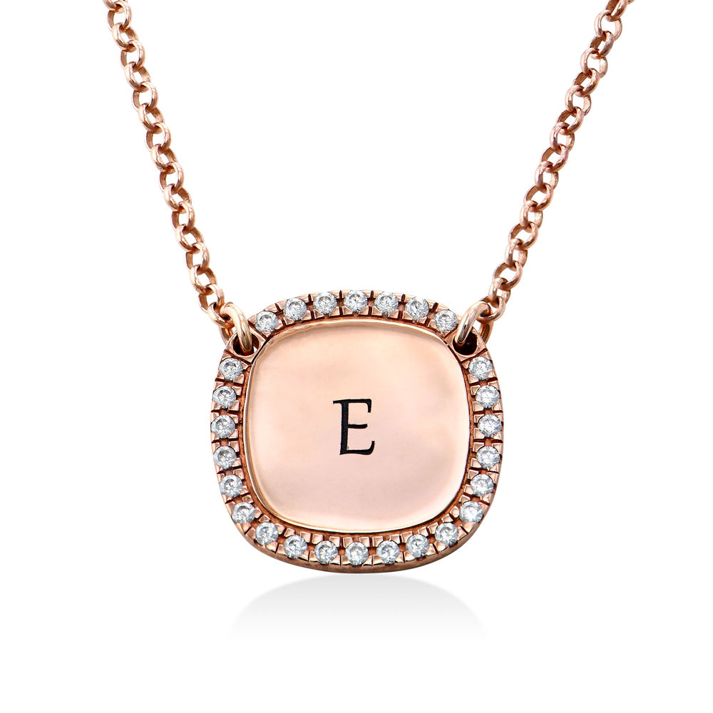 Personalized Square Cubic Zirconia Necklace in Rose Gold Plating