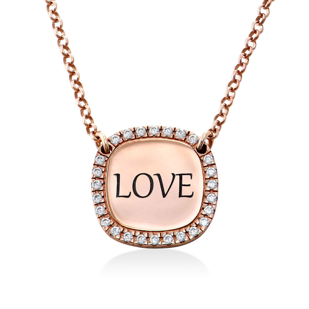 Personalized Square Cubic Zirconia Necklace in Rose Gold Plating - 1