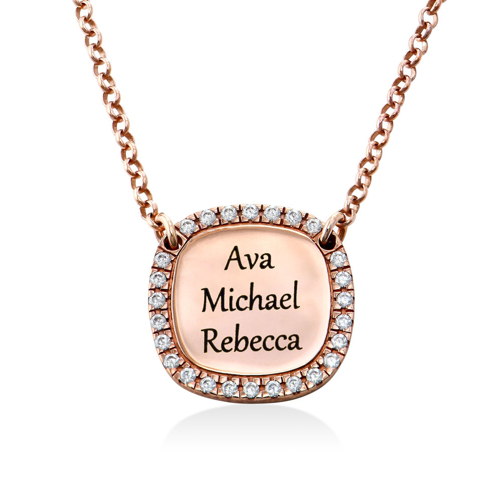 Personalized Square Cubic Zirconia Necklace in Rose Gold Plating - 2