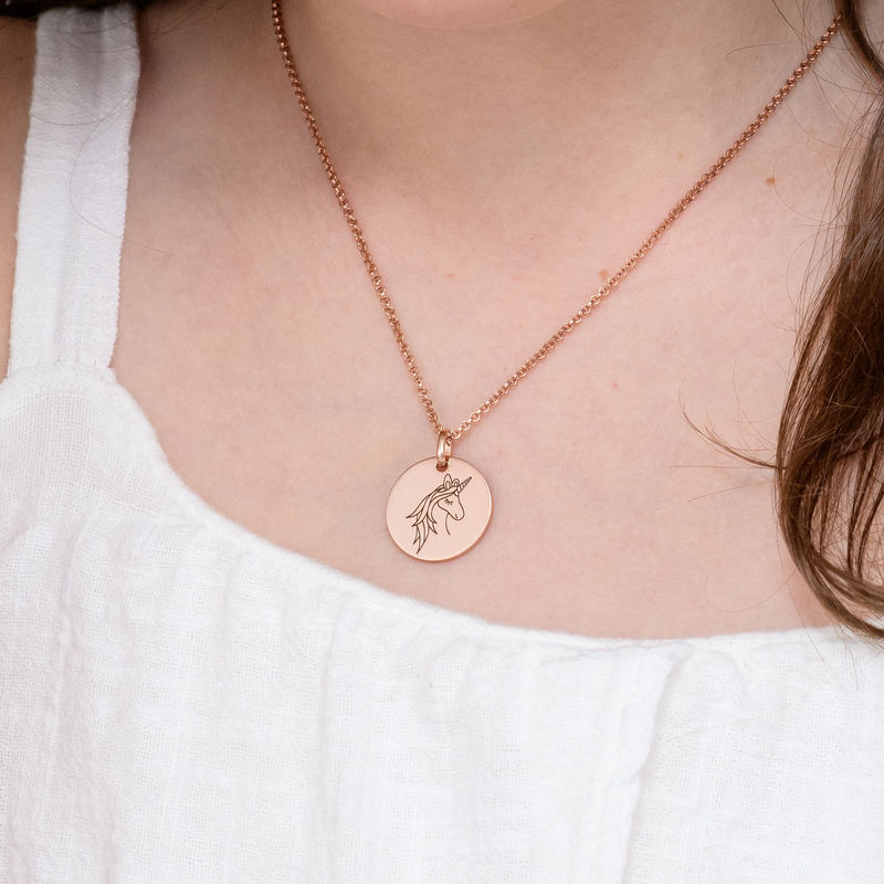 Unicorn Pendant Necklace in Rose Gold Plating - 4