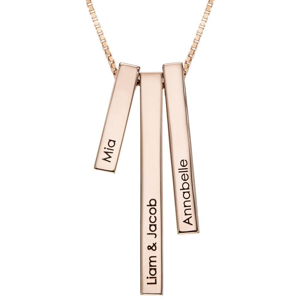 Engraved Triple 3D Vertical Bar Necklace in Rose Gold Plating