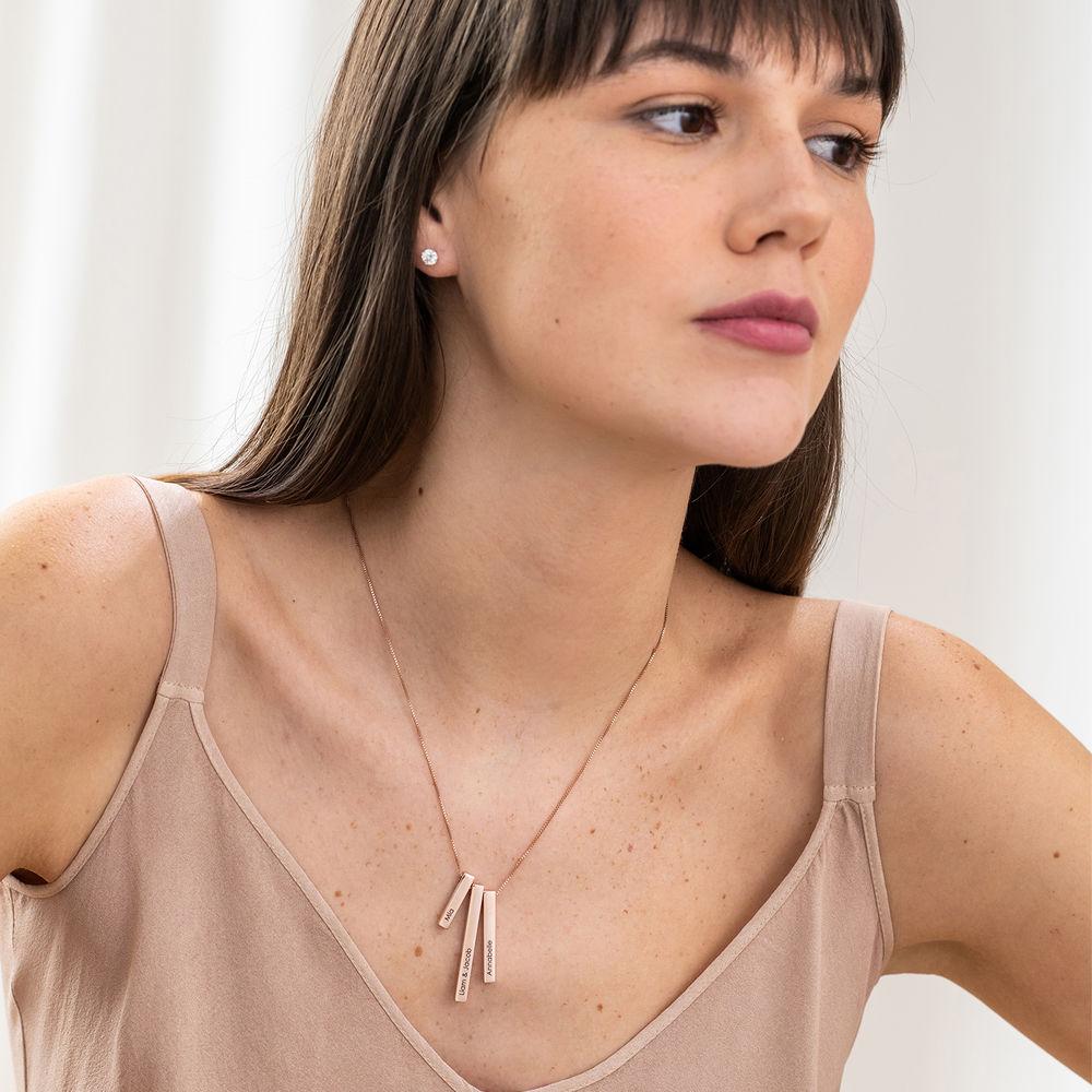 Engraved Triple 3D Vertical Bar Necklace in Rose Gold Plating - 3