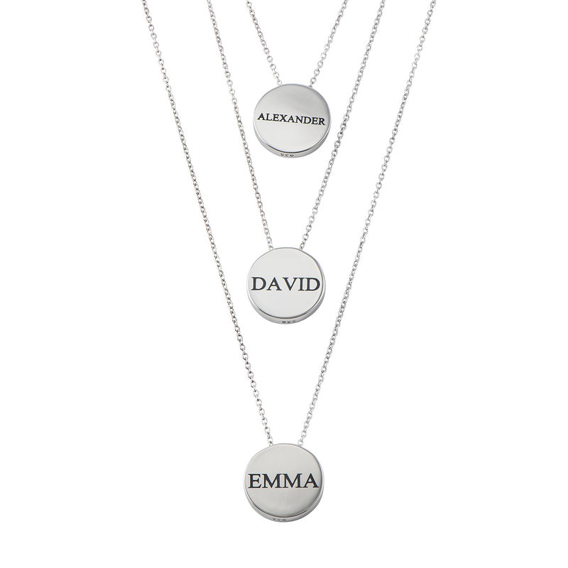 Custom Thick Disc Necklace in Sterling Silver - 2