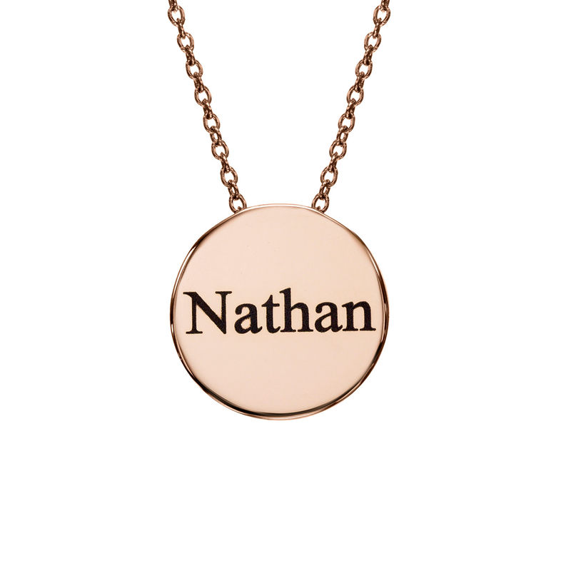 Custom Thick Disc Necklace in Rose Gold Plating - 1