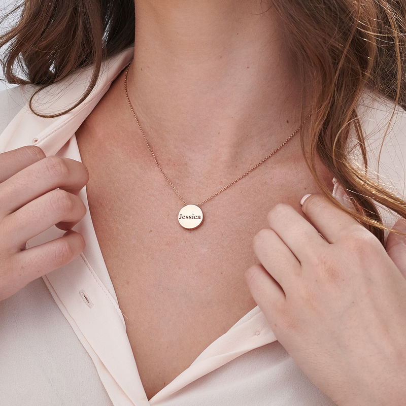 Custom Thick Disc Necklace in Rose Gold Plating - 5
