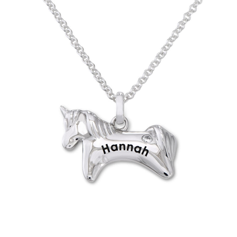 Unicorn Necklace for Girls in Sterling Silver with Cubic Zirconia