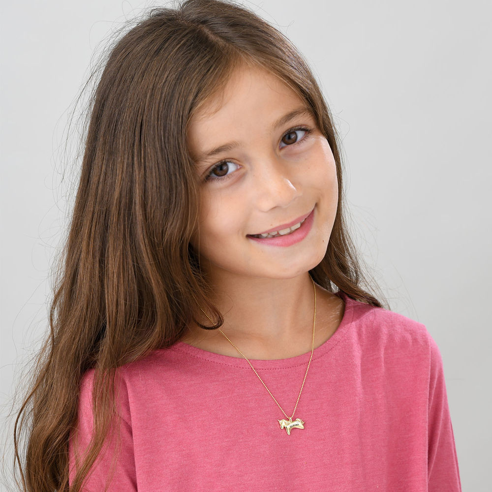 Unicorn Necklace for Girls in 10k Yellow Gold with Cubic Zirconia - 1