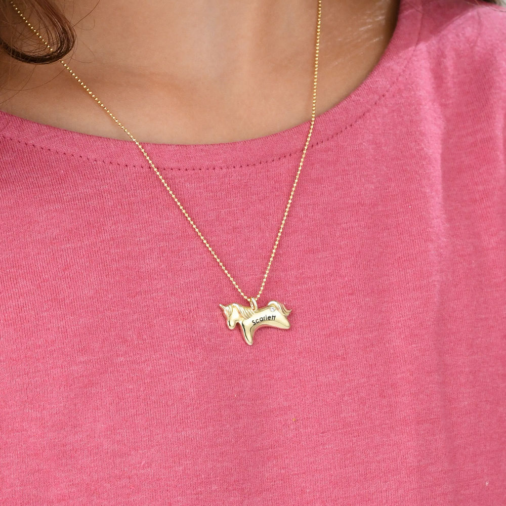 Unicorn Necklace for Girls in 10k Yellow Gold with Cubic Zirconia - 2