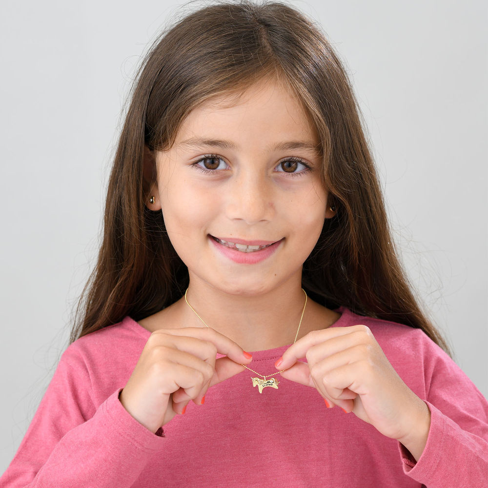 Unicorn Necklace for Girls in 10k Yellow Gold with Cubic Zirconia - 3