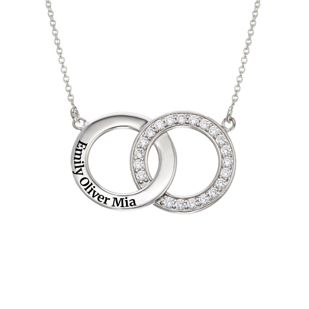 Cubic Zirconia Interlocking Circle Necklaces in Sterling Silver - 1