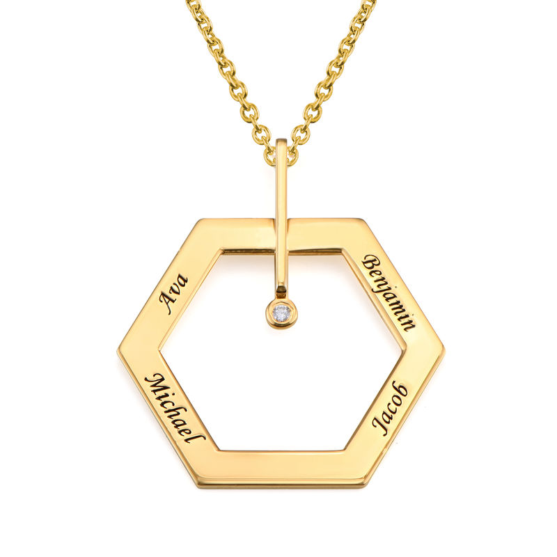 Personalized Engraved Hexagon Necklace in Gold Plating with Diamond