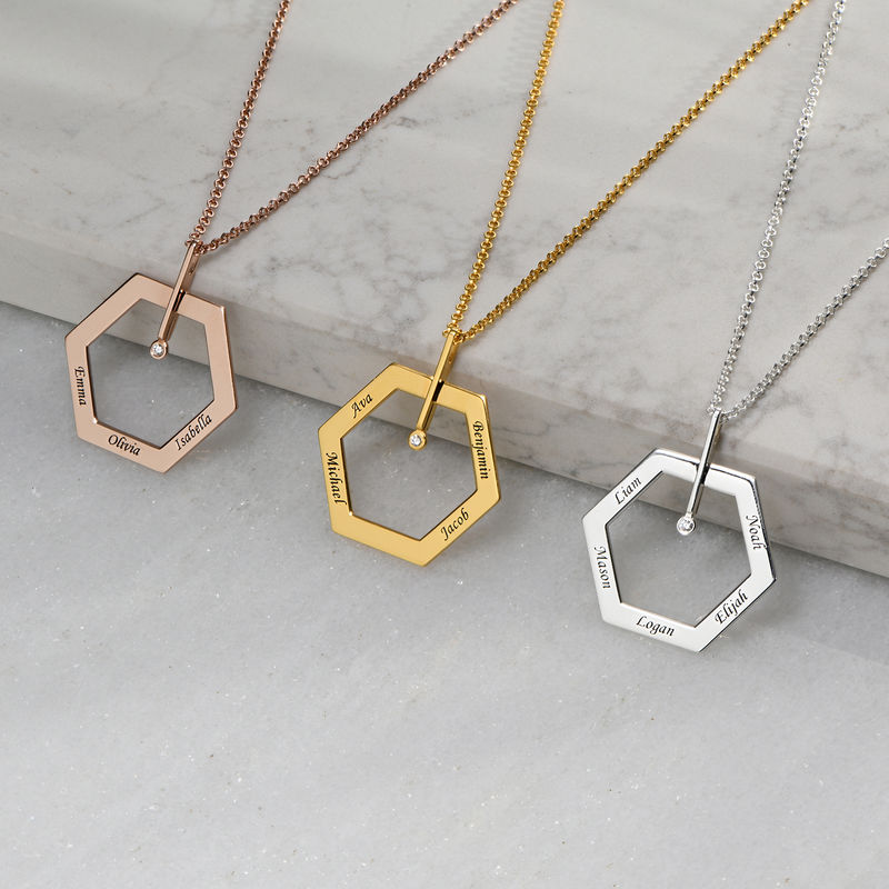 Personalized Engraved Hexagon Necklace in Gold Plating with Diamond - 1