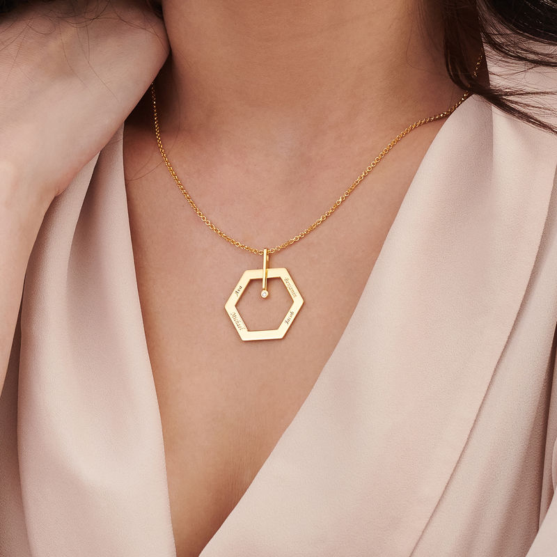 Personalized Engraved Hexagon Necklace in Gold Plating with Diamond - 3