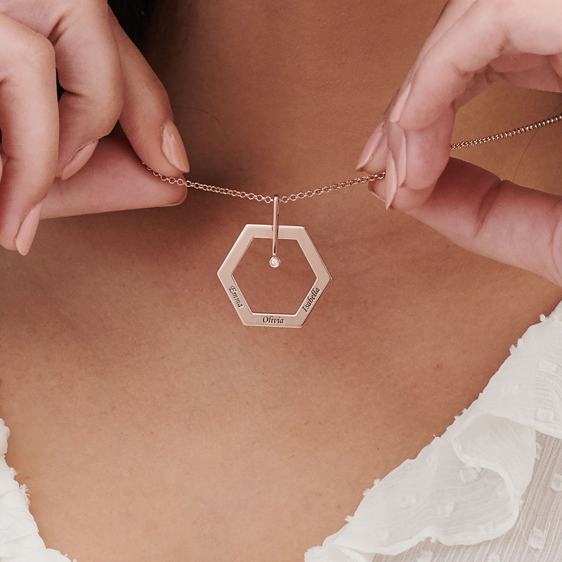 Personalized Engraved Hexagon Necklace in Rose Gold Plating with Diamond - 3