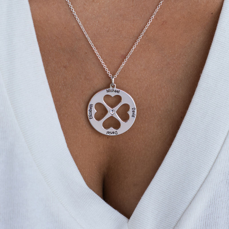 Four Leaf Clover Heart in Circle Pendant Necklace in Silver - 4