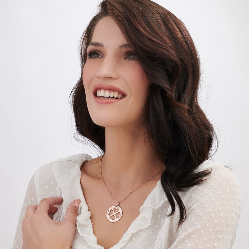 Four Leaf Clover Heart Necklace in Rose Gold Plating - 2