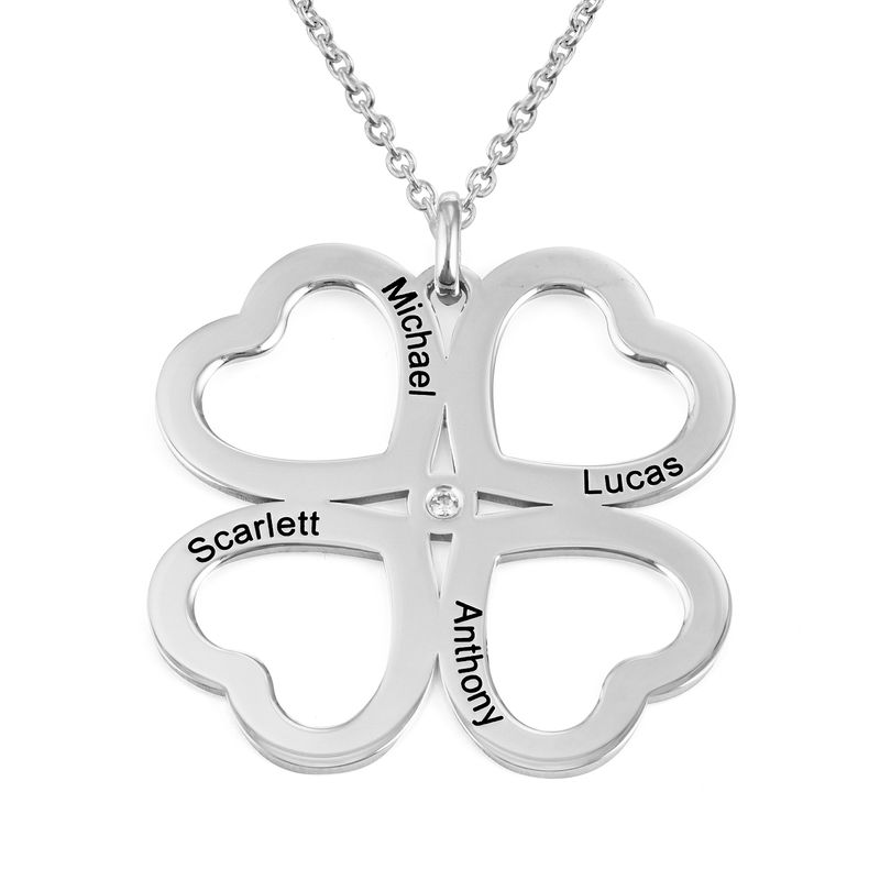 Four Leaf Clover Heart Necklace with Diamonds in Silver
