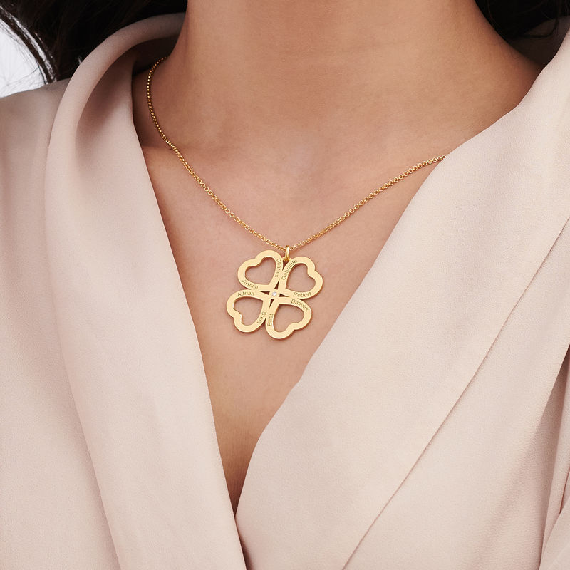 Four Leaf Clover Heart Necklace with Diamonds in Gold Plating - 3