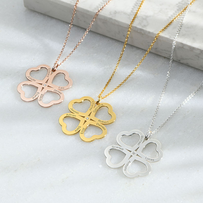 Four Leaf Clover Heart Necklace with Diamonds in Rose Gold Plating - 1