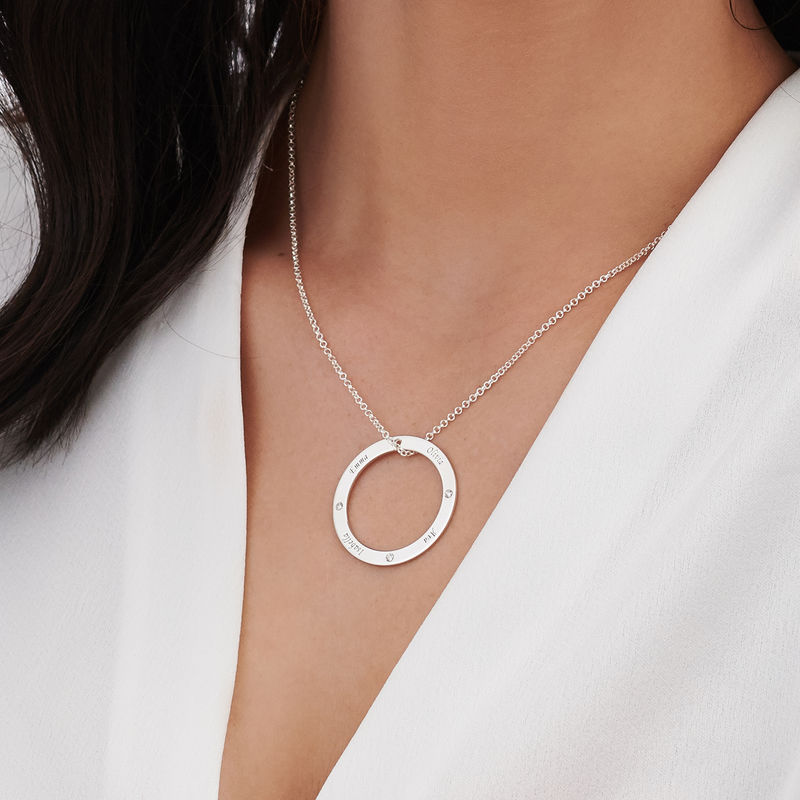 Engraved Family Circle Necklace for Mom in Sterling Silver - 3