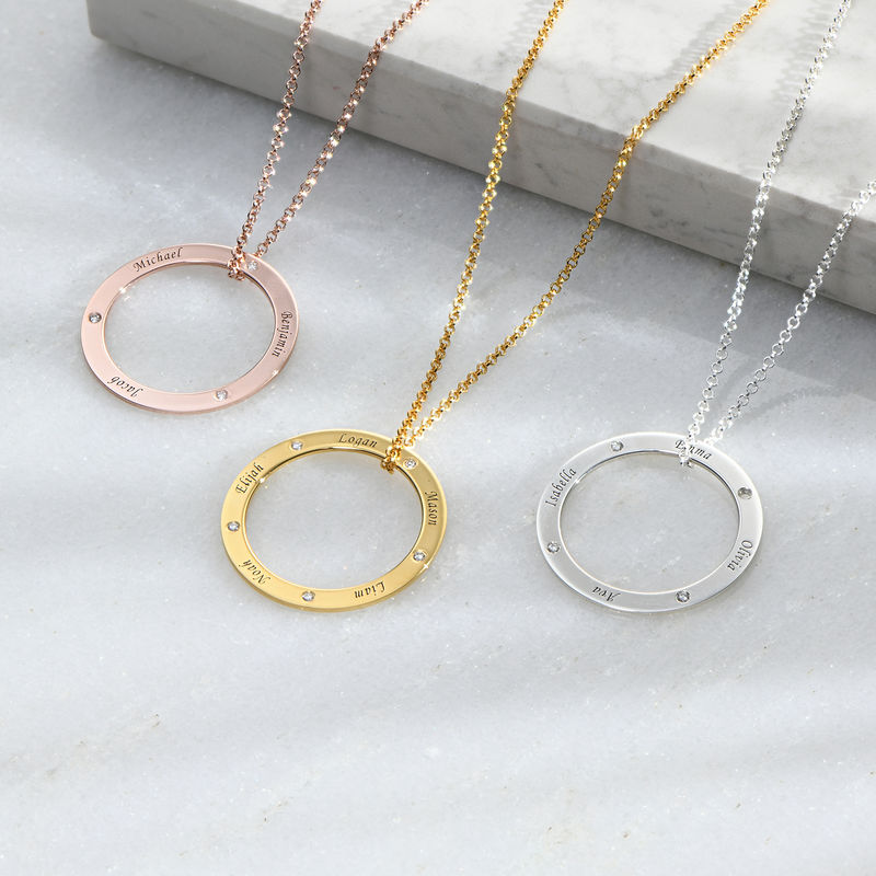Personalized Ring Family Necklace with Diamonds in Gold Plating - 1