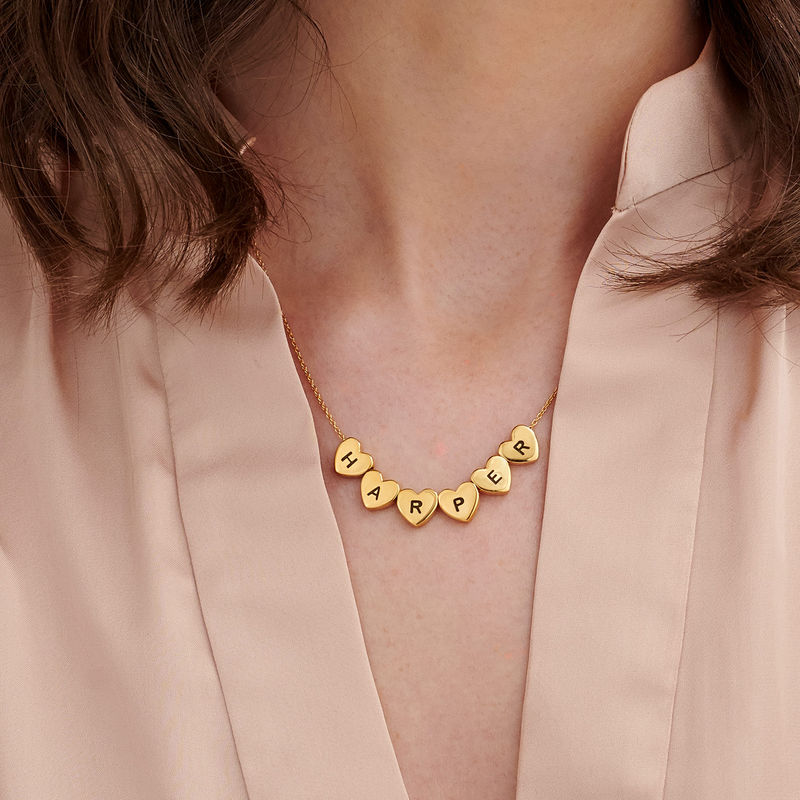 Initial Hearts Stackable Necklace in Gold Plating - 3