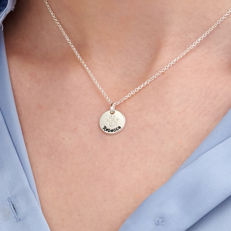Baby Hand Engraved Charm Necklace in Sterling Silver - 3