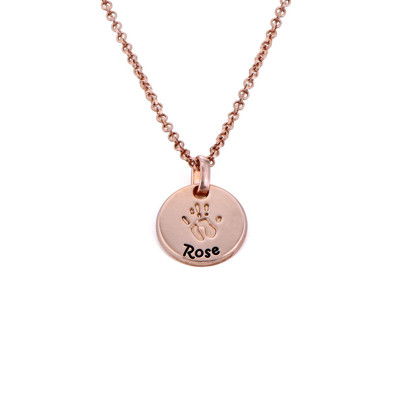 Baby Hand Engraved Charm Necklace in Rose Gold Plating