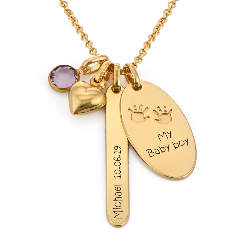Personalized Mom Charm Necklace in Gold Plating
