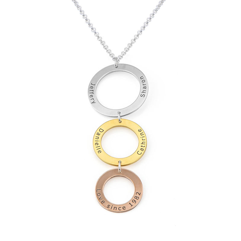 Engraved 3 Circles Necklace in Tri- color