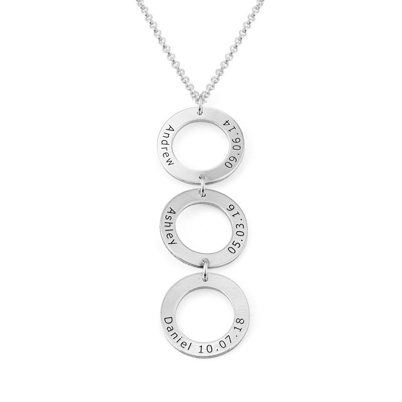Personalized Vertical Hanging 3 Circles Necklace in Sterling Silver