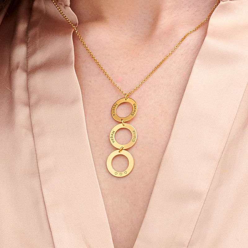 Personalized Vertical Hanging 3 Circles Necklace in Gold Plating - 2