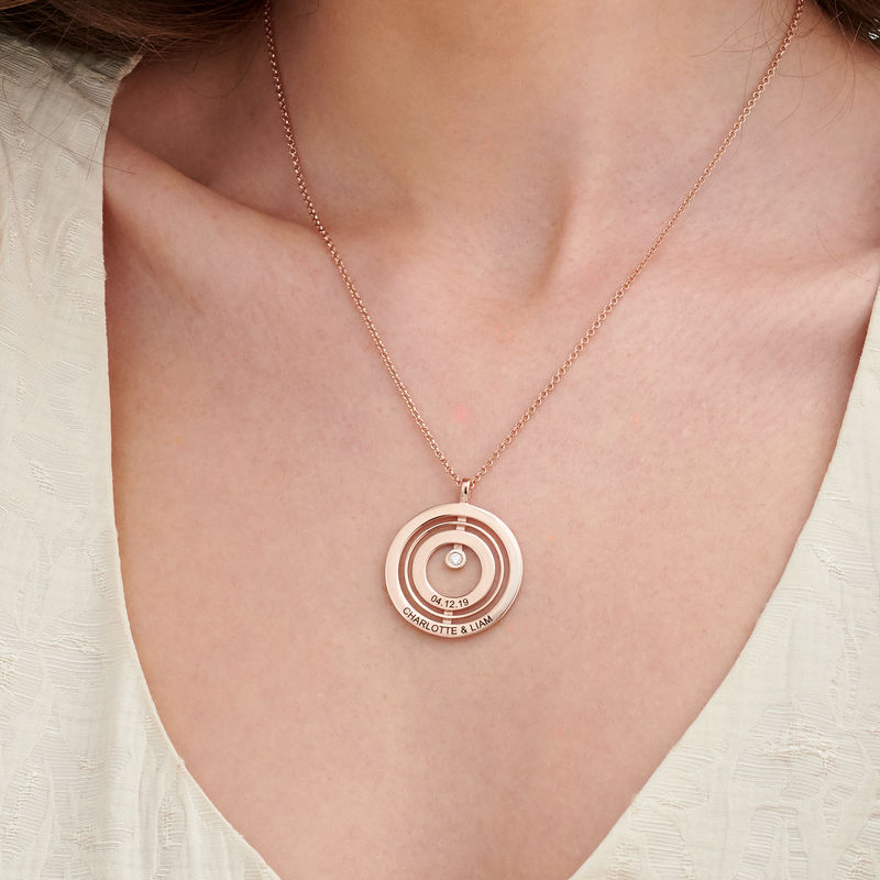 Engraved Circle of Life Necklace in Rose Gold Plating with Diamond - 2