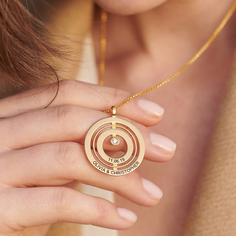 Engraved Circle of Life Necklace in 18k Gold Vermeil with Diamond - 3