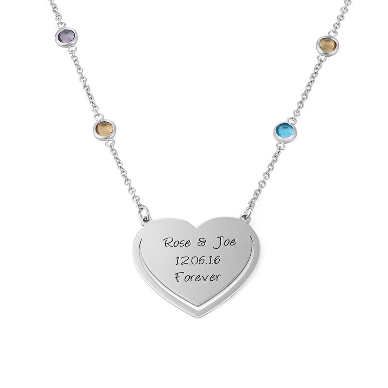 Engraved Heart Necklace with Multi-colored Stones chain in Sterling Silver