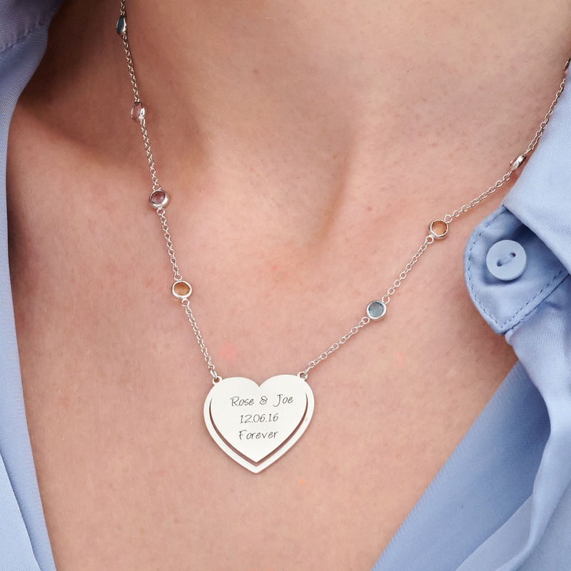 Engraved Heart Necklace with Multi-colored Stones chain in Sterling Silver - 2