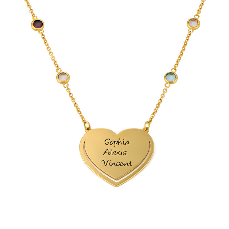 Engraved Heart Necklace with Multi-colored Stones chain in Gold Plating