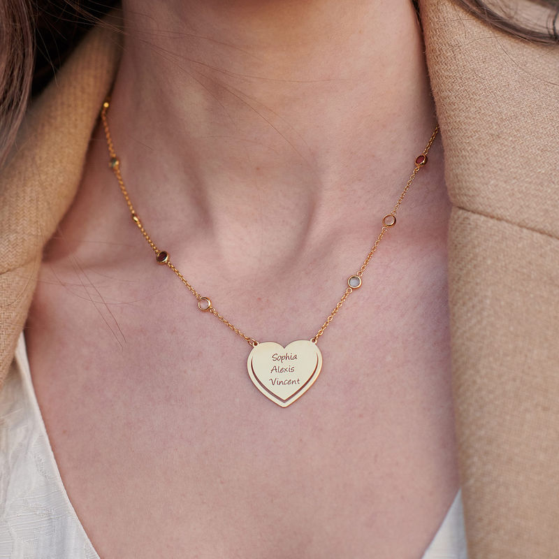 Engraved Heart Necklace with Multi-colored Stones chain in Gold Plating - 3