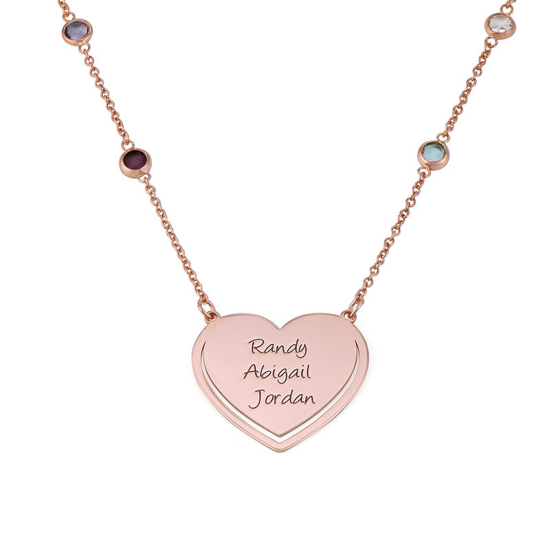 Engraved Heart Necklace with Multi-colored Stones chain in Rose Gold Plating
