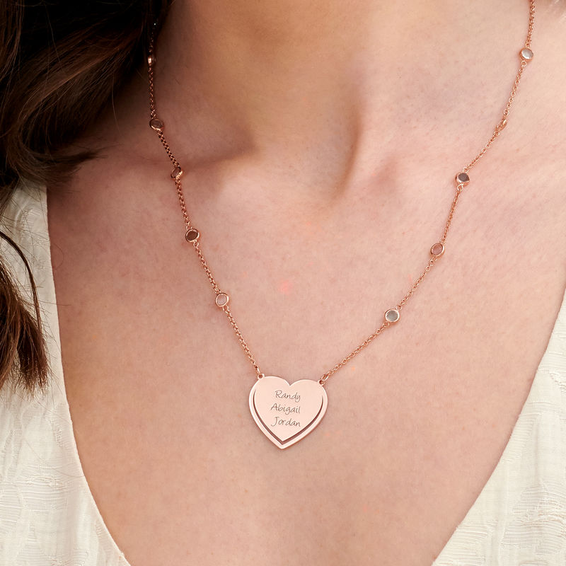 Engraved Heart Necklace with Multi-colored Stones chain in Rose Gold Plating - 2