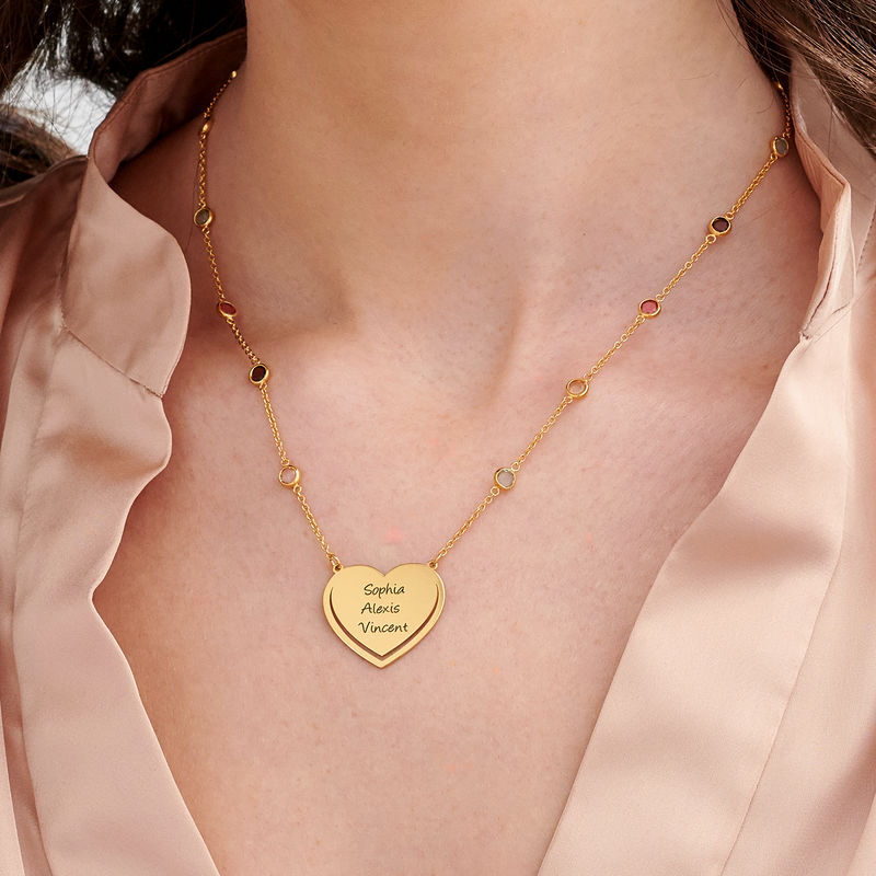 Engraved Heart Necklace with Multi-colored Stones chain in 18k Gold Vermeil - 2