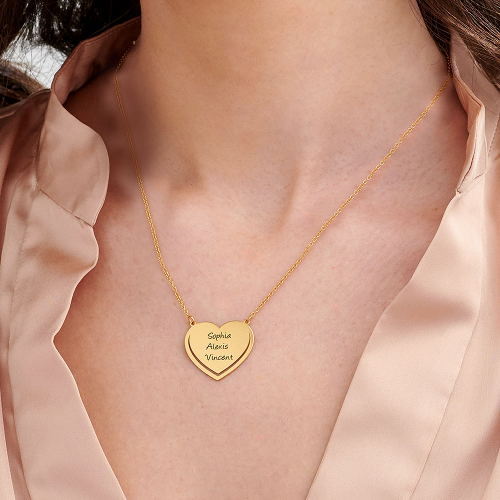 Personalized Heart Necklace in 18k Gold Vermeil - 2