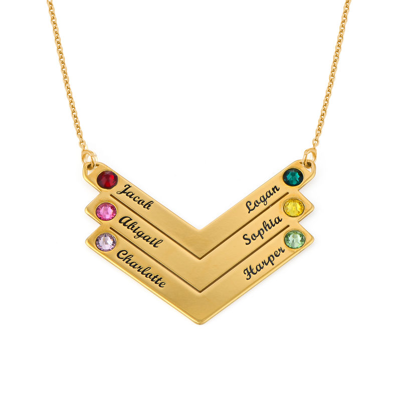 Birthstone Personalized Family Necklace in Gold Plating - 1