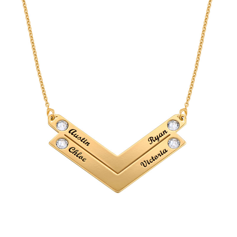 Birthstone Personalized Family Necklace in Gold Plating - 2